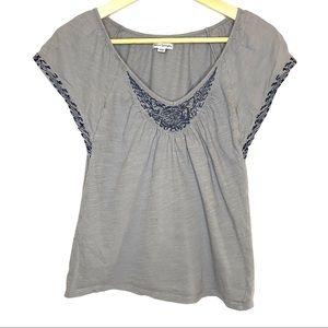 American Eagle embroidered boho jersey top